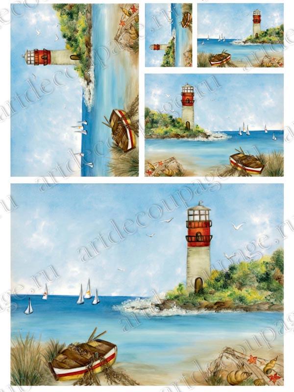 Рисовая бумага для декупажа, берег моря, маяк, купить