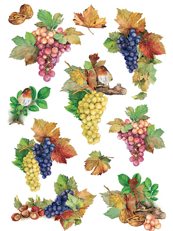 Рисовая бумага для декупажа Renkalik 166 Грозди винограда