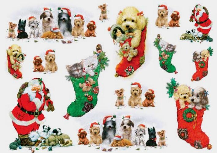 Рисовая бумага для декупажа новогодняя, Санта, котята и щенки, купить