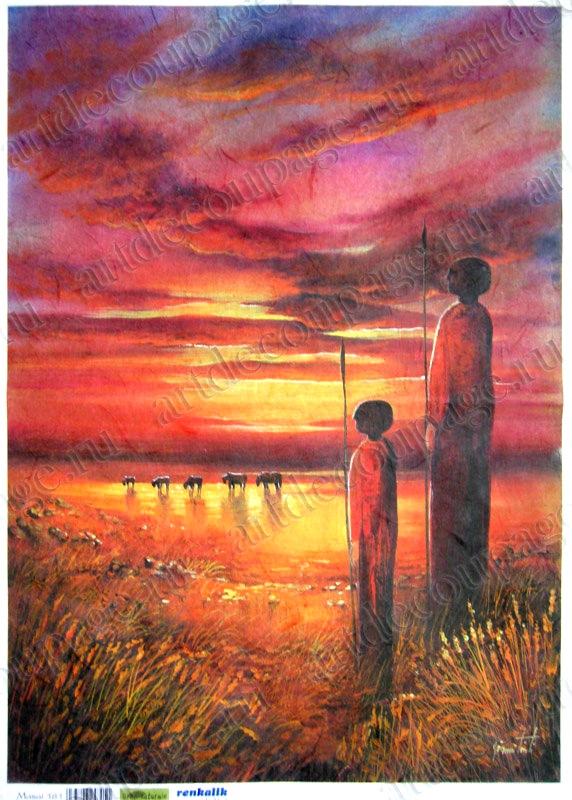 Рисовые карты для декупажа Renkalik Поколения масаев, Африка - магазин АртДекупаж