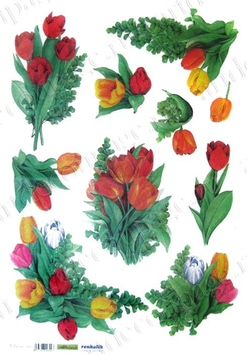 Рисовая бумага для декупажа тюльпаны