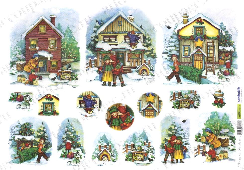 Рисовая бумага для декупажа новогодняя, Зимняя деревня, дети, купить