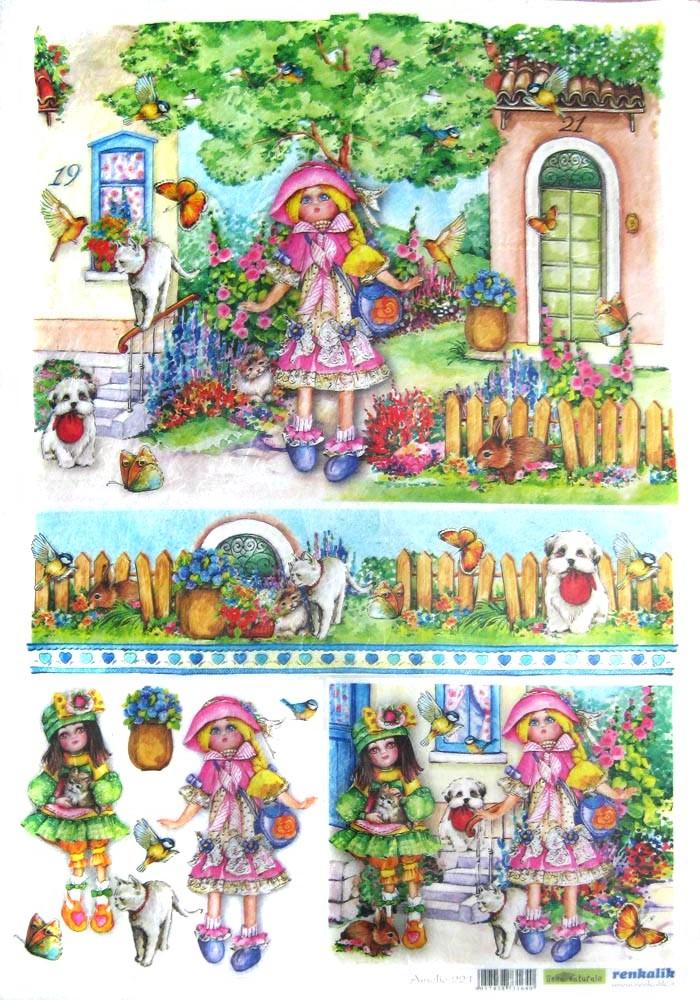 Рисовая бумага для декупажа детская Renkalik,Кукла Амелия, игрушки, детство, купить