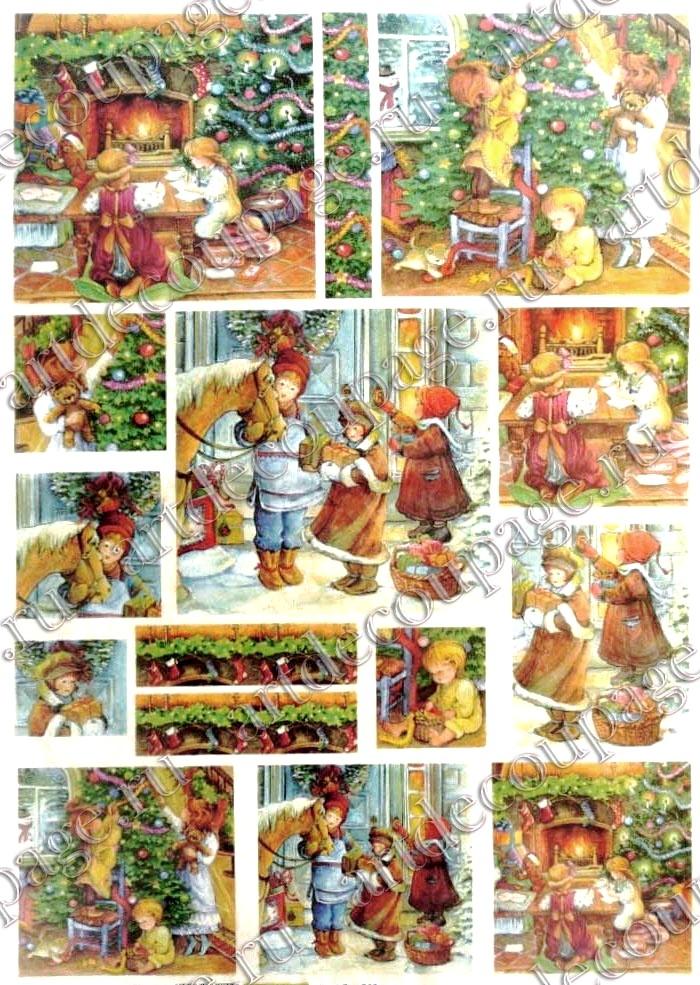 Рисовая бумага для декупажа Renkalik Ожидание Рождества, дети, ёлка, подарки, купить