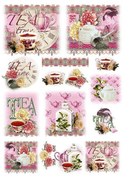 Рисовая бумага для декупажа Renkalik, новинка, Чайная церемония, время чая, купить