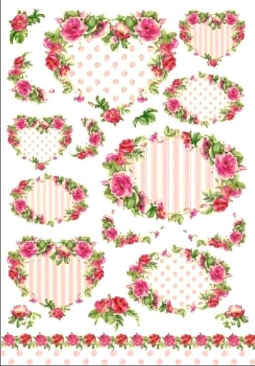 Рисовая бумага для декупажа Розы рамочки из роз, шебби шик