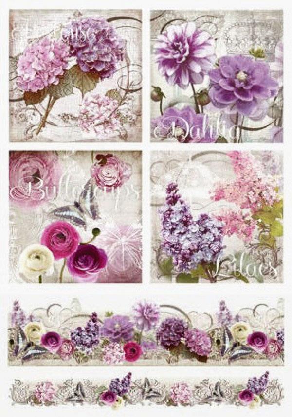 Рисовая бумага для декупажа Renkalik Цветы, орнамент, купить