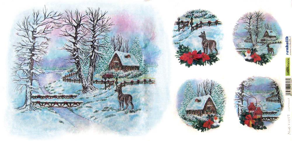 Рисовая бумага для декупажа новогодняя, рождественская, Зимний пейзаж и олень, купить
