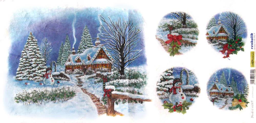 Рисовая бумага для декупажа Снеговик, новогодняя елка, зимний дом