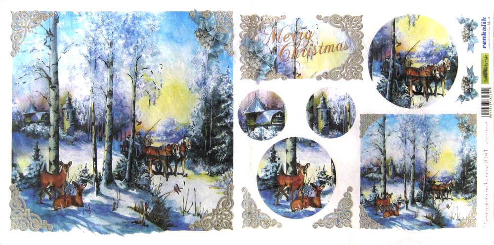 Рисовая бумага для декупажа новогодняя Зимнмй лес и олени