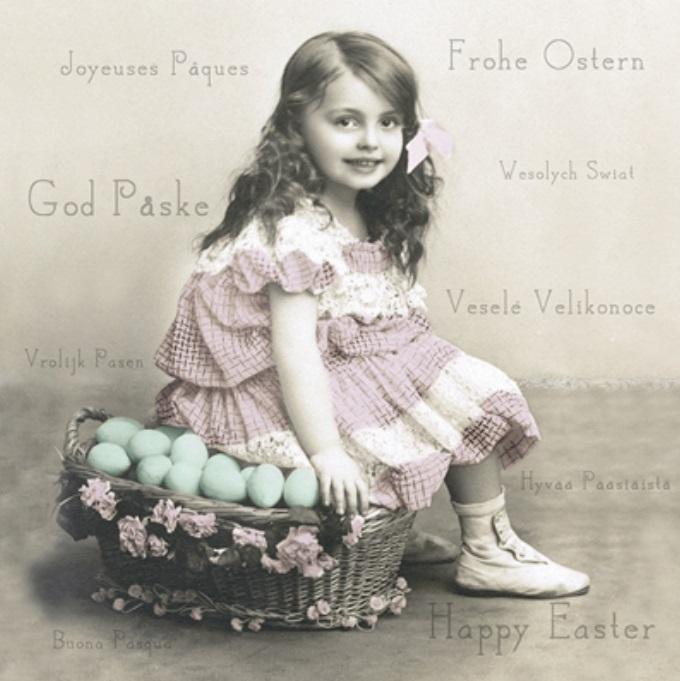 Пасхальные салфетки для декупажа Пасхальная девочка, Sagen Vintage Design купить