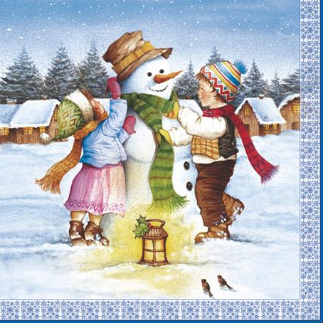 Салфетки для декупажа Новогодние, Снеговик и дети