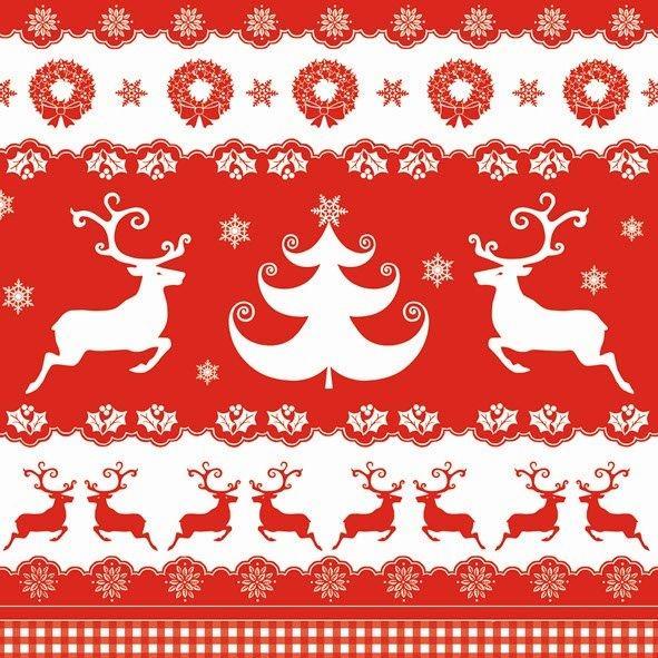 Новогодняя салфетка для декупажа Рождественские бордюры
