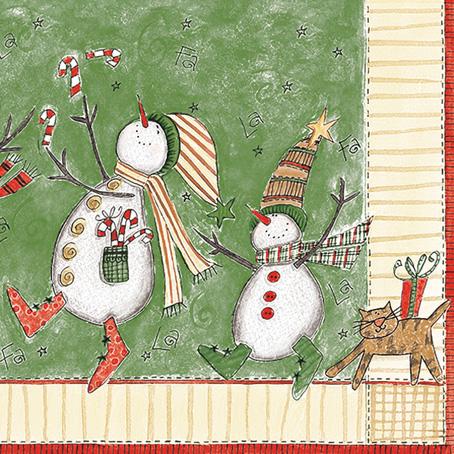 Салфетки для декупажа Новогодние, Снеговики