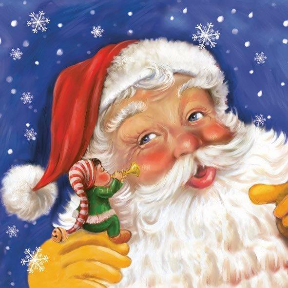 Новогодняя салфетка для декупажа Санта Клаус и гномик