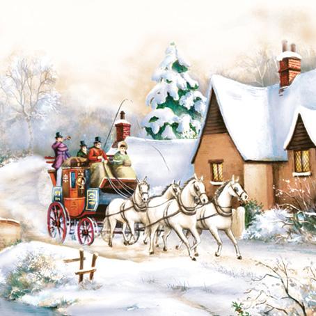 Салфетки для декупажа Новогодние, гирлянда, снегирь