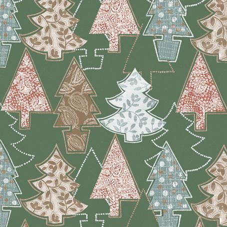 Салфетки для декупажа Новогодние, Елочки зеленый фон