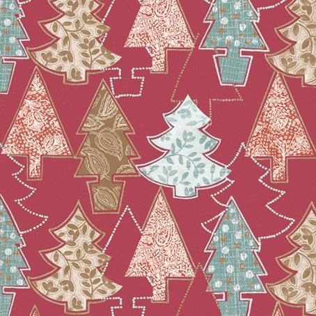 Салфетки для декупажа Новогодние елки на красном