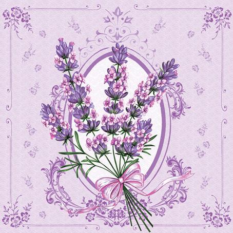 Салфетки для декупажа цветы, Лаванда и винтажная рамка, купить, Москва