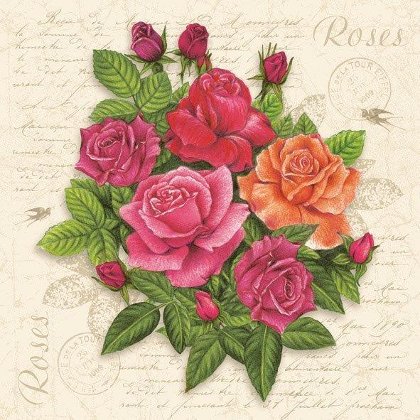 салфетка для декупажа Красные розы и текст
