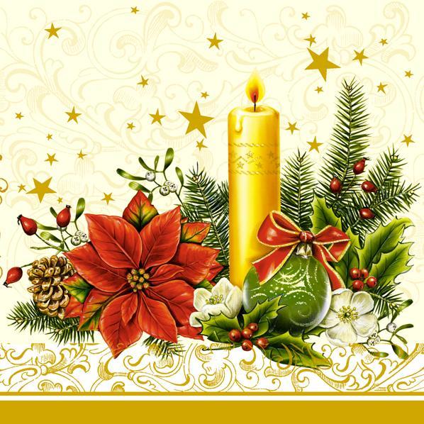 Новогодняя салфетка для декупажа Рождественский цветок и свеча