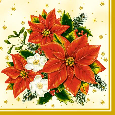 Салфетки для декупажа Новогодние Рождественские цветы