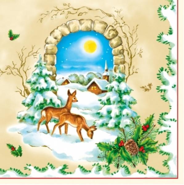 Салфетки  Новогодние, Зимний пейзаж, олени