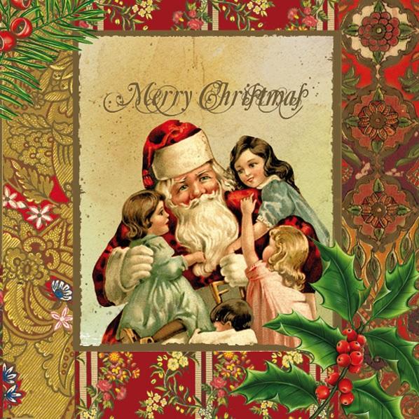 Салфетки для декупажа новогодние, Санта и дети, Рождество, винтаж, купить, Москва