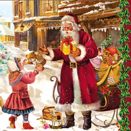 Салфетки новогодние для декупажа Санта с подарками, винтаж, Рождество, купить, Москва