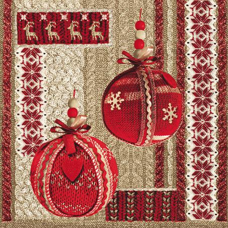 Салфетки для декупажа Новогодние, вязаные елочные шары