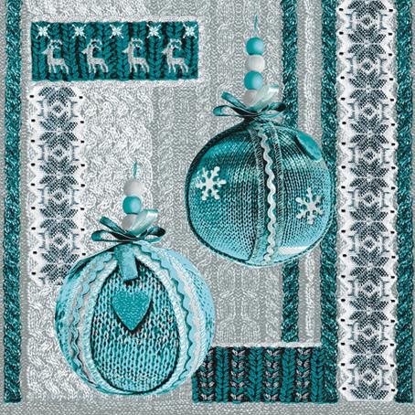 Салфетки для декупажа Новогодние, вязаные елочные шары  синие