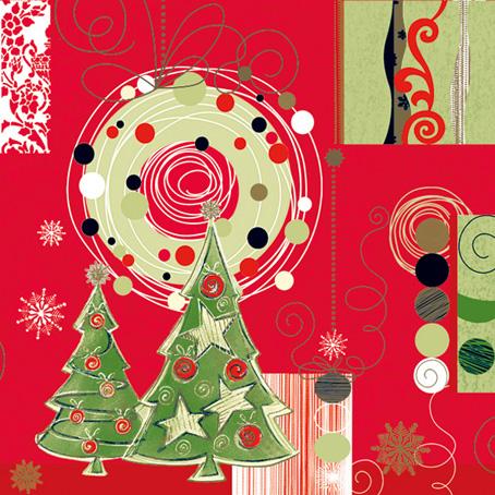 Новогодняя салфетка для декупажа Новогодние ёлки