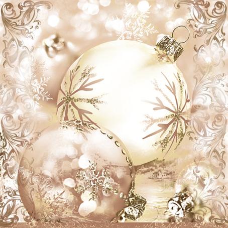 Новогодние салфетки для декупажа, Елочные шары бежевый фон узоры