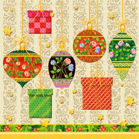 Салфетки для декупажа Елочные игрушки, SLGW008901301, купить, интернет магазин АртДекупаж