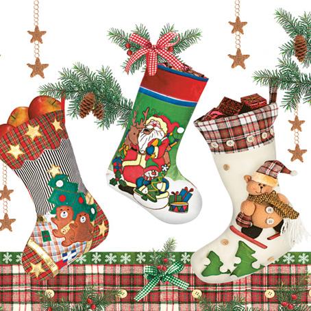 Салфетки для декупажа Новогодние, Рождественские носки