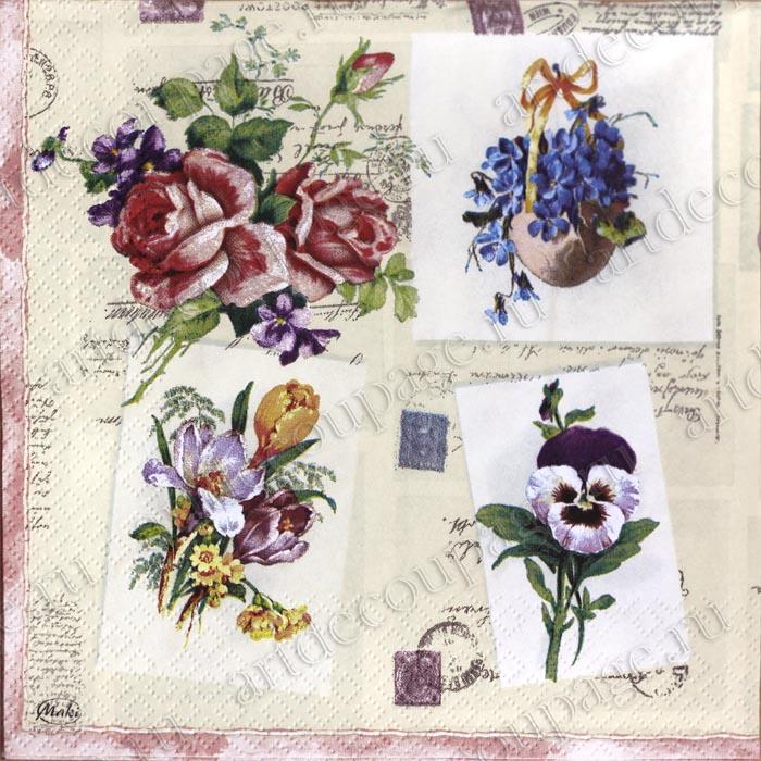 Салфетки для декупажа бумажные Букетики на открытках, цветы, купить, Москва