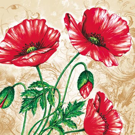 салфетки для декупажа цветы Красные маки