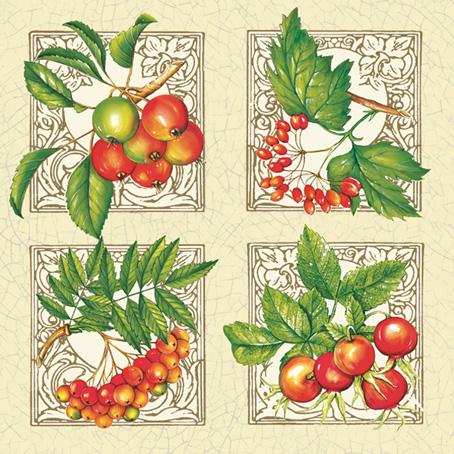 Декупажные салфетки POL-MAK, ягоды шиповника, рябины, купить