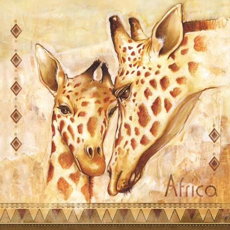 Салфетки для декупажа бумажные, Африка, Жирафы, купить
