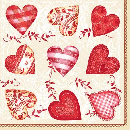 Салфетки для декупажа Сердечки с орнаментом, любовь, купить, Москва