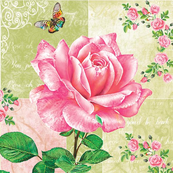 салфетки для декупажа Роза и бабочки, купить