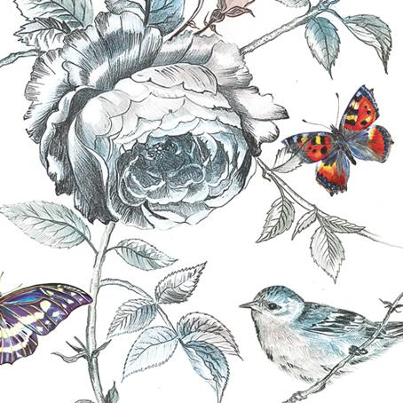 салфетки для декупажа Цветы, птичка, бабочка