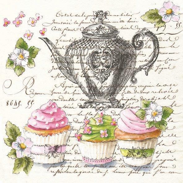 салфетка для декупажа Чай, пирожные и текст