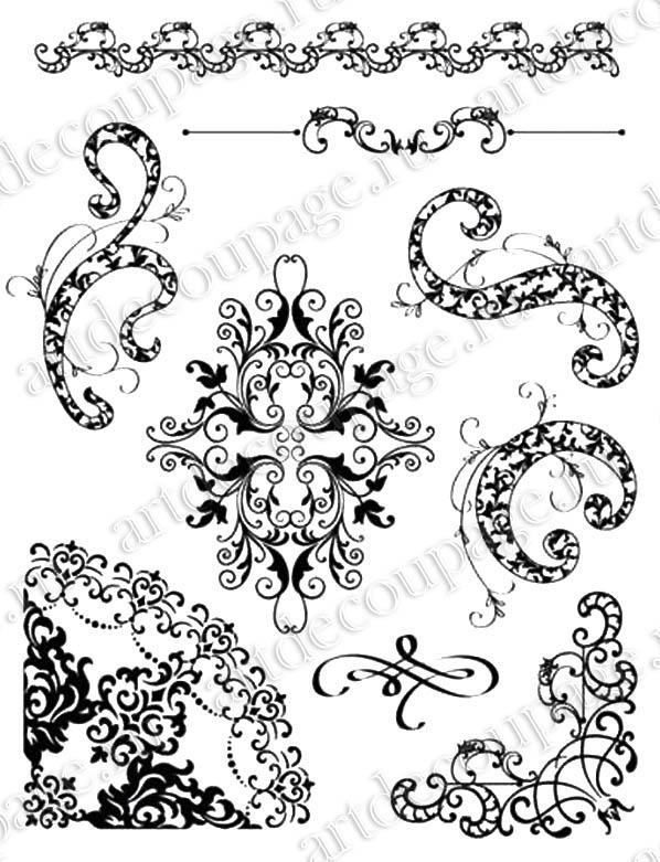 Набор прозрачных сииконовых штампов для скрапбукинга Цветочные виньетки, орнамент, Viva decor