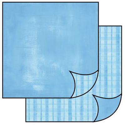 Бумага для скрапбукинга двусторонняя Голубая клетка, купить