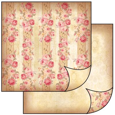 Бумага для скрапбукинга двусторонняя дизайнерская полоски из роз