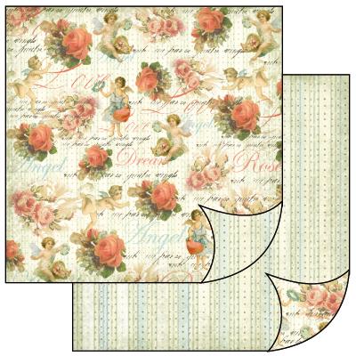 Бумага двусторонняя для скрапбукинга ангелы и розы, винтаж - магазин АртДекупаж