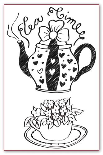 Штампы силиконовые для скрапбукинга Чай, чаепитие
