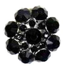 Декоративная пуговица со стразами Черный цветок Button Fashion,Баттон Фэшн