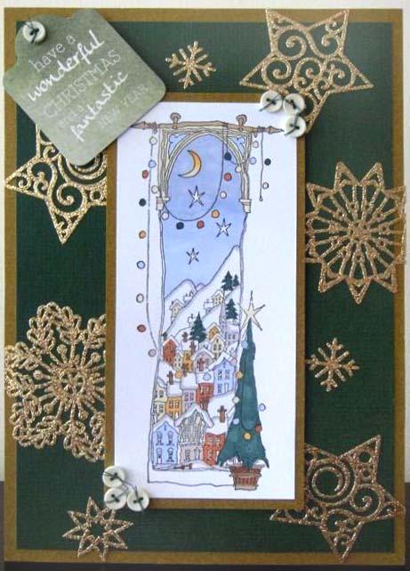 Штампы для скрапбукинга новогодние, резиновый штамп Заснеженное Рождество Michael Powell